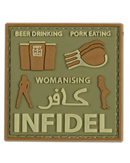 Tactical Patch Pork Infidel in olive green