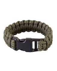 Kombat Expandable Paracord Bracelet with whistle in olive green