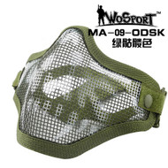 Wo Sport V1 Strike Steel Half Face Mask (Two Belt Version) OD Skull