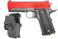 Galaxy G25H Full Scale Metal Pistol With Holster in Red