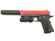 Galaxy G25A K Warrior Full Metal Pistol with Silencer in Red