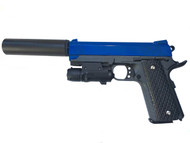 Galaxy G25A K Warrior Full Metal Pistol with Silencer in Blue