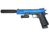 Vigor 2012-A2 Spring Pistol Inc Silencer & Laser Sight in Blue
