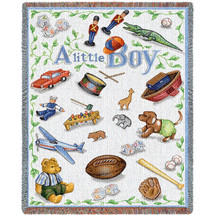 Pure Country Weavers - Little Boy Mini Woven Tapestry Throw Blanket with Fringe  USA Size 54x45 Tapestry Throw