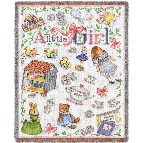 Pure Country Weavers - Little Girl Mini Woven Tapestry Throw Blanket with Fringe  USA Size 54x45 Tapestry Throw