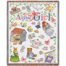 Pure Country Weavers - Little Girl Mini Woven Tapestry Throw Blanket with Fringe Cotton USA 54x45 Tapestry Throw