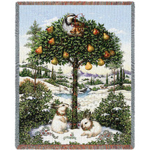 Pure Country Weavers | Partridge In A Pear Tree Woven Tapestry Throw Blanket with Fringe Cotton USA 72x54 Tapestry Throw