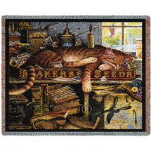 Remington The Horticulturist Cat by Charles Wysocki Woven Blanket Large Soft Comforting Throw 100% Cotton Made in the USA 72x54 Tapestry Throw