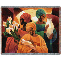Caress - Caribbean Style - Keith Mallett - Cotton Woven Blanket Throw - Made in the USA (72x54) Tapestry Throw