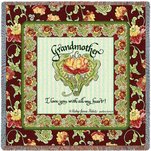 Grandmother I Love You With All My Heart - Audrey Jean Roberts - Lap Square Cotton Woven Blanket Throw - Made in the USA (54x54) Lap Square