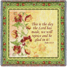 Pure Country Weavers - Rejoice Psalm 118:24 Woven Throw Blanket With Artistic Textured Design Cotton USA 54x54 Lap Square
