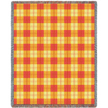 Pure Country Weavers - Mango Orange and Yellow Plaid Woven Large Soft Comforting Throw Blanket With Artistic Textured Design Cotton USA 72x54 Tapestry Throw
