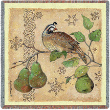 Partridge and Pears - Anita Phillips - Lap Square Cotton Woven Blanket Throw - Made in the USA (54x54) Lap Square