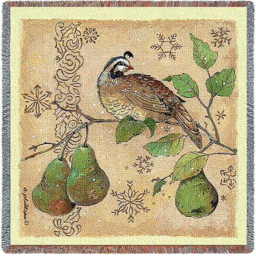 Partridge and Pears Anita Phillips Lap Blanket Throw Woven From Cotton Made In The USA 54x54 Lap Square