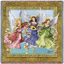 Angelic Trio - Three Angels Playing Music - Lap Square Cotton Woven Blanket Throw - Made in the USA (54x54) Lap Square