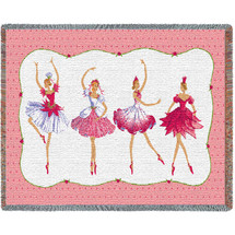 Pure Country Weavers | Four Ballerinas Tapestry Mini Woven Tapestry Throw Blanket with Fringe Cotton USA 54x35 Tapestry Throw