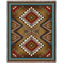 100% Cotton Southwest Blanket, Woven Tapestry Aztec Blanket, Iconic Fringe Design, Native American Inspired Pattern, Tribal Camp Throw (72x54) Tapestry Throw