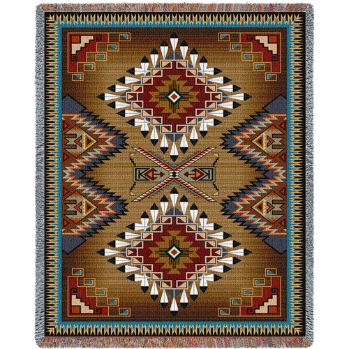 Pure Country Weavers - Brazos XL Southwest Geometric Woven Tapestry Throw Blanket with Fringe  USA Size 60x90 Tapestry Throw