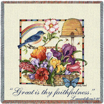 Great Is Thy Faithfulness - Scriptures - Lamentations 3:23 - Lap Square Cotton Woven Blanket Throw - Made in the USA (54x54) Lap Square