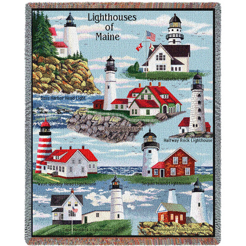 Pure Country Weavers | Lighthouses of Maine Woven Tapestry Throw Blanket Collector Gift with Fringe including Bass Harbor West Quoddy Cape Elizabeth Halfway Rock and Portland. Large 72x54 Tapestry Throw