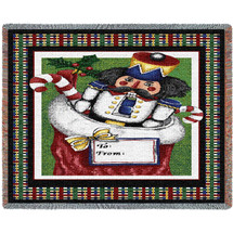 Christmas Nutcracker in Stocking Woven Large Soft Comforting Mini Throw Blanket 100% Cotton Made in USA 35x54 Tapestry Throw