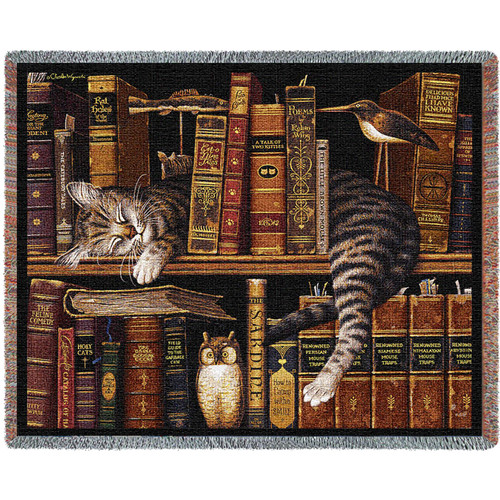Pure Country Weavers | Frederick The Literate Cat by Charles Wysocki Woven Tapestry Blanket with Fringe Cotton 72x54 Cotton USA Tapestry Throw