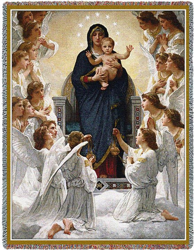 Virgin Mary with Angels Woven Tapestry Throw Blanket Cotton USA 72x54 by Pure Country Weavers Tapestry Throw