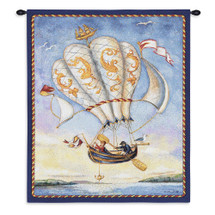 Airship by Alexandra Churchill | Woven Tapestry Wall Art Hanging | Whimsical Ornate Flying Canoe over Water | 100% Cotton USA Size 34x27 Wall Tapestry