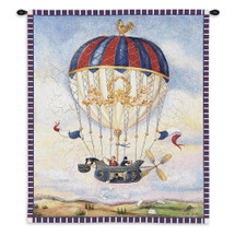 Mail Drop by Alexandra Churchill | Woven Tapestry Wall Art Hanging | Whimsical French Hot Air Baloon Artwork | 100% Cotton USA Size 34x27 Wall Tapestry