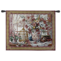 Queen Anne's Lace | Woven Tapestry Wall Art Hanging | Pink Gold Flower Centerpiece with Birdcage Victorian Style | 100% Cotton USA Size 53x40 Wall Tapestry