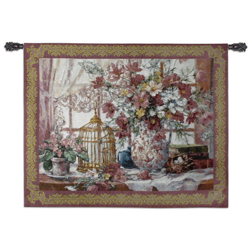 Pure Country Weavers - Queen Annes Lace Hand Finished European Style Jacquard Woven Wall Tapestry. USA Size 40x53 Wall Tapestry