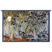 Irises With Inspiration By Van Gogh | Woven Tapestry Wall Art Hanging | Floral Masterpiece With Religious Text God Laughs In Flowers | 100% Cotton USA Wall Tapestry
