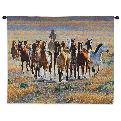 Bringing Them In | Woven Tapestry Wall Art Hanging | Cowboy Herding Wild Stallion Horses Western Equestrian Artwork | 100% Cotton USA Size 34x26 Wall Tapestry