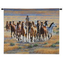 Bringing Them In | Woven Tapestry Wall Art Hanging | Horses Cowboy Herding Wild Running Stallion Horses Western Themed Artwork | 100% Cotton USA Wall Tapestry