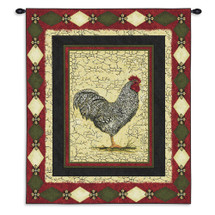 Le Coq | Woven Tapestry Wall Art Hanging | Antique Crackled Rooster Portrait | 100% Cotton USA Size 34x26 Wall Tapestry