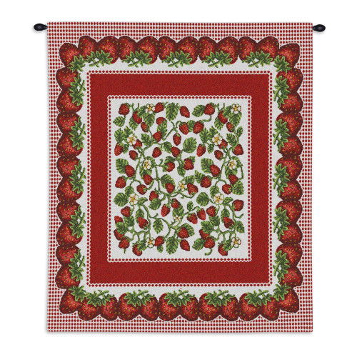 Pure Country Weavers - Strawberry Festival Hand Finished European Style Jacquard Woven Wall Tapestry. USA Size 34x26 Wall Tapestry