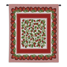 Strawberry Festival | Woven Tapestry Wall Art Hanging | Juicy Intricate Red Berry Design | 100% Cotton USA Size 34x26 Wall Tapestry
