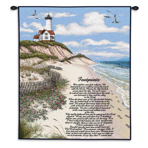Pure Country Weavers - Jesus Footprints in Sand Hand Finished European Style Jacquard Woven Wall Tapestry. USA Size 34x26 Wall Tapestry