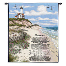 Footprints | Woven Tapestry Wall Art Hanging | Christian Religious Poetry on Coastal Lighthouse Landscape | 100% Cotton USA Size 34x26 Wall Tapestry