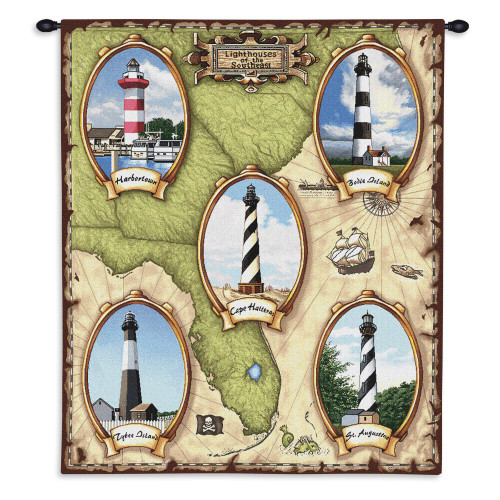 Lighthouses of the Southeast II | Woven Tapestry Wall Art Hanging | American Atlantic Coast Lighthouse Map | 100% Cotton USA Size 34x26 Wall Tapestry