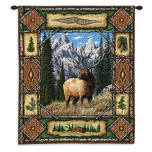 Elk Lodge | Ornate Rustic Hunting Cabin Decor | Woven Tapestry Wall Art Hanging | 100% Cotton USA Size 26x34 Wall Tapestry