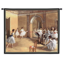The Dance Foyer at the Opera on the Rue Le Peletier by Edgar Degas | Woven Tapestry Wall Art Hanging |  | 100% Cotton USA Size 34x26 Wall Tapestry