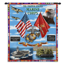 Marine Corps USMC Land Sea Air | Woven Tapestry Wall Art Hanging | USMC Aircraft Carrier Patriotic Artwork | 100% Cotton USA Size 34x26 Wall Tapestry