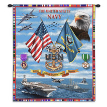 Pure Country Weavers - Navy Sea Power Hand Finished European Style Jacquard Woven Wall Tapestry. USA Size 34x26 Wall Tapestry