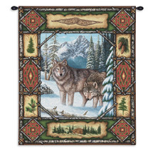 Wolf Lodge | Rustic Wildlife Theme Of Wolves |Woven Tapestry Wall Art Hanging | 100% Cotton USA Size 26x34 Wall Tapestry