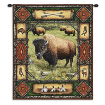 Buffalo Lodge | Woven Tapestry Wall Art Hanging | Rustic Wildlife Bison Theme | 100% Cotton USA Size 34x26 Wall Tapestry