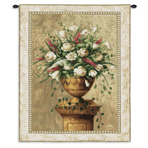 Spring Expression | Woven Tapestry Wall Art Hanging | Beige White Floral Centerpiece Still Life | 100% Cotton USA Size 53x38 Wall Tapestry