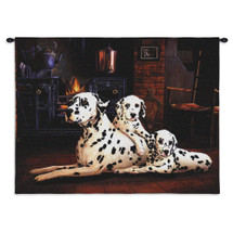 Dalmatian by Robert May | Woven Tapestry Wall Art Hanging | Vibrant Reasistic Dog Family Portrait | 100% Cotton USA Size 34x26 Wall Tapestry