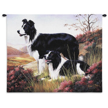 Border Collie by Robert May | Woven Tapestry Wall Art Hanging | Dogs on Serene Hillside Oil Painting | 100% Cotton USA Size 34x26 Wall Tapestry