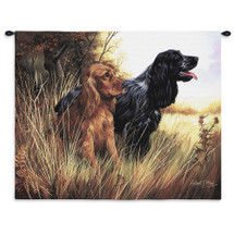 Cocker Spaniel by Robert May | Woven Tapestry Wall Art Hanging | Dogs in Tall Grass Oil Painting | 100% Cotton USA Size 34x26 Wall Tapestry